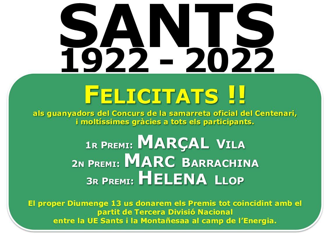 FELICITATS !! ALS GUANYADORS del concurs de la samarreta oficial del CENTENARI